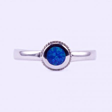 """Ezüst kék opál gyűrű """"kerek"""""""