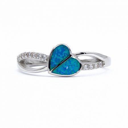"""Ezüst kék opál és cirkónia köves gyűrű """"szív"""""""