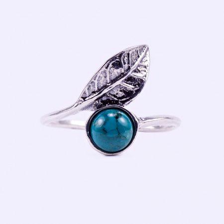 """Ezüst türkiz köves gyűrű """"levél"""""""