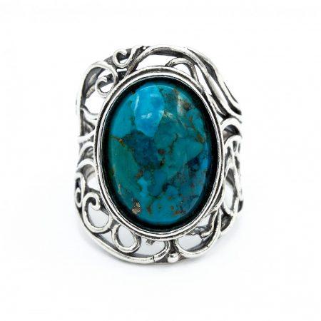 """Izraeli ezüst türkiz köves gyűrű """"nagy.ovál"""""""