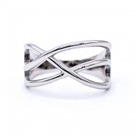 """Ezüst kő nélküli gyűrű """"átlós"""""""