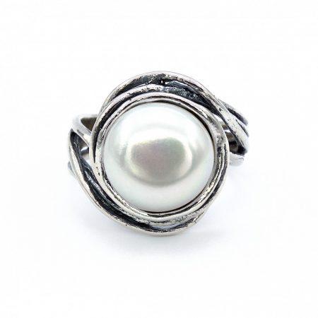 """Izraeli ezüst gyöngy gyűrű """"12"""""""