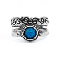 """Izraeli ezüst opál köves gyűrű """"hullám"""""""