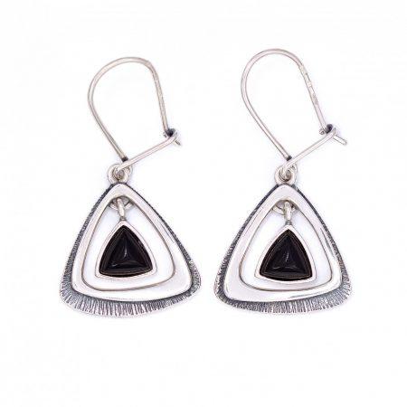 """Ezüst ónix köves fülbevaló """"háromszög"""""""