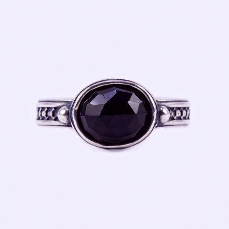 """Izraeli ezüst ónix köves gyűrű """"10x8"""""""