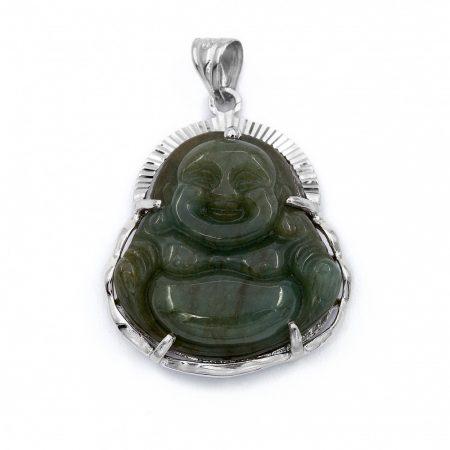 """Ezüst jáde köves Buddha medál """"nagy"""""""