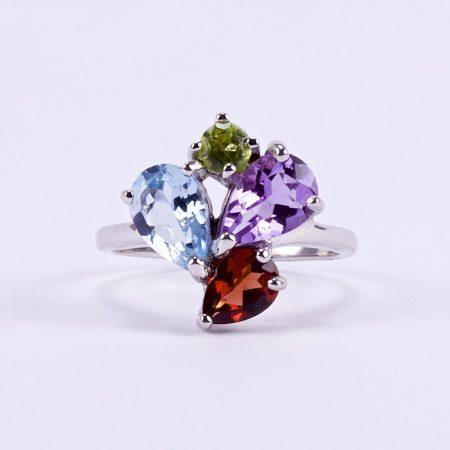 Ezüst gyűrű csiszolt valódi kövekkel
