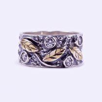 """Ezüst aranyozott, antikolt cirkónia köves gyűrű """"levél"""""""