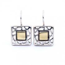 """Izraeli ezüst aranyozott fülbevaló """"négyzet"""""""