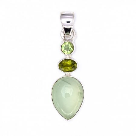 Ezüst prehnit és olivin (peridot) köves medál