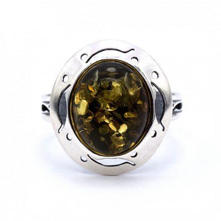 """Ezüst zöld borostyán köves gyűrű """"10x12"""""""