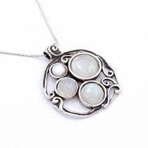Izraeli ezüst holdkő és gyöngy medál lánccal
