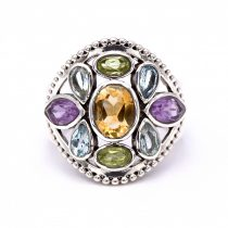 Ezüst négy valódi köves gyűrű