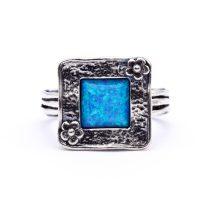 """Izraeli ezüst opál köves gyűrű """"négyzet.virág"""""""