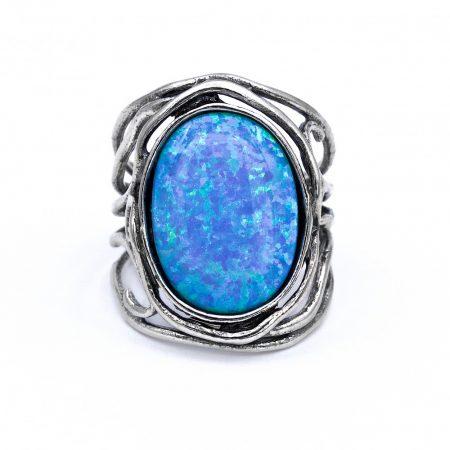 """Izraeli ezüst opál köves gyűrű """"14x18.szélesedő"""""""