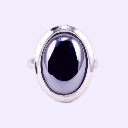 """Ezüst hematit köves gyűrű """"10x14"""""""