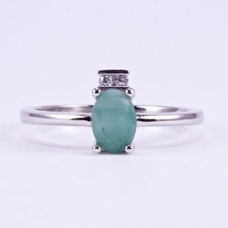 Ezüst gyűrű smaragd és cirkónia kövekkel