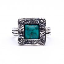 """Izraeli ezüst türkiz köves gyűrű """"négyzet.virág"""""""