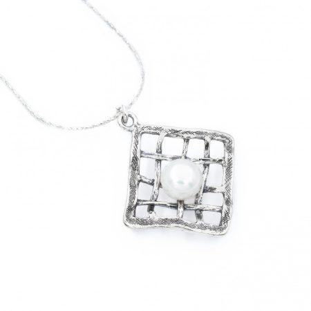 """Izraeli ezüst gyöngy medál lánccal """"hálós"""""""