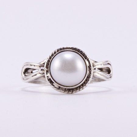 """Ezüst gyöngy gyűrű """"antikolt"""""""