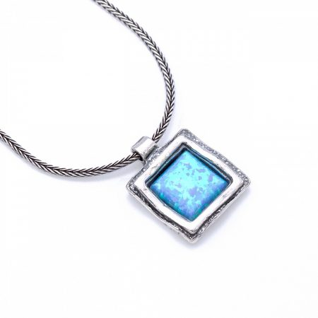 """Izraeli ezüst opál köves medál antikolt lánccal """"négyzet"""""""