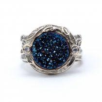 """Izraeli ezüst druzy és cirkónia köves gyűrű """"kék"""""""