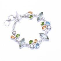 Egyedi ezüst zöld ametiszt, kék topáz, gyöngy, citrin és olivin köves karlánc