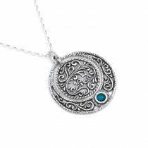 Izraeli ezüst türkiz köves medál lánccal