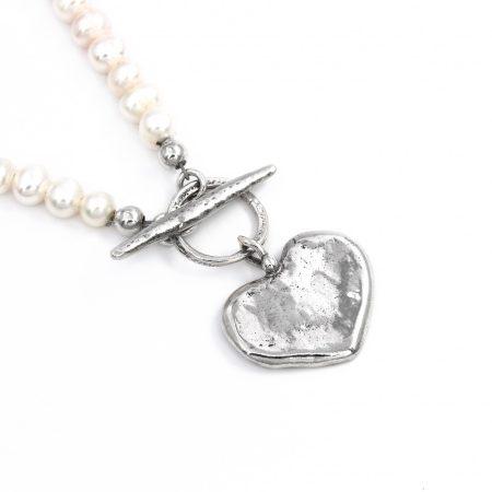 Izraeli ezüst fűzött gyöngy lánc szív medállal