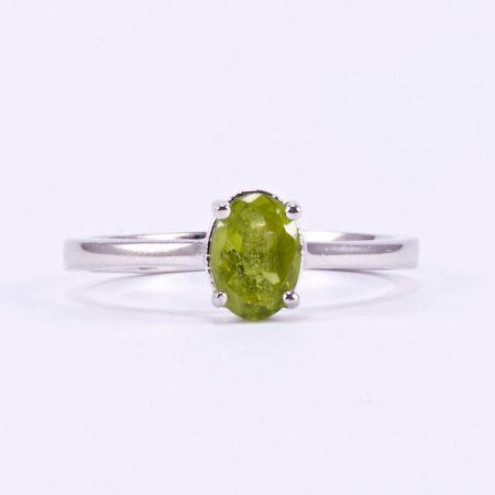 """Ezüst peridot (olivin) köves gyűrű """"5x7"""""""