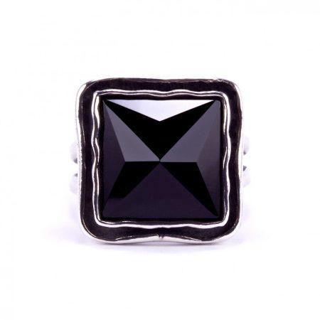 """Izraeli ezüst csiszolt ónix köves gyűrű """"nagy.négyzet"""""""