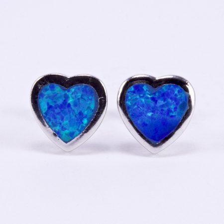 """Ezüst kék opál fülbevaló """"szív 9"""""""