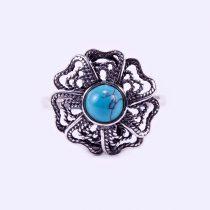 """Ezüst türkiz köves gyűrű """"fil.virág"""""""