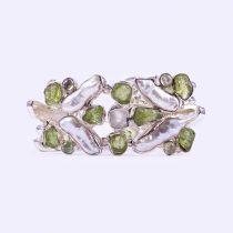 Egyedi ezüst olivin, malachit és gyöngy karlánc
