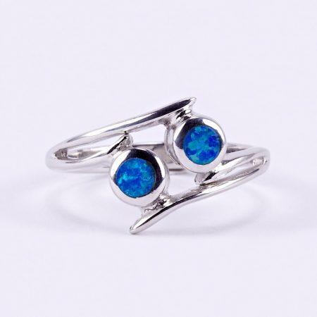 """Ezüst kék opál gyűrű """"két kör"""""""