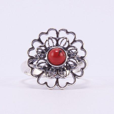 """Ezüst korall gyűrű """"virág"""