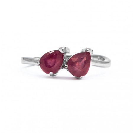 """Ezüst rubin köves gyűrű """"két.csepp"""""""