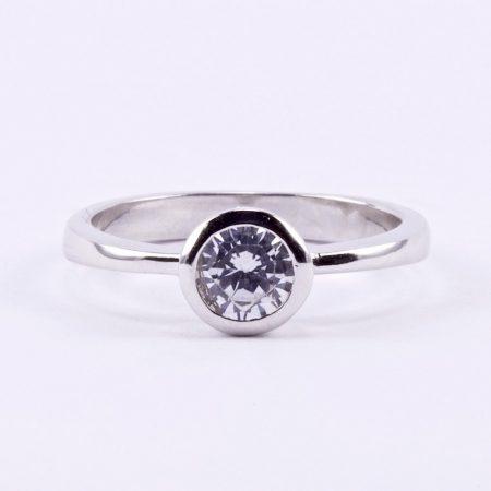 """Ezüst cirkónia köves gyűrű """"button"""""""