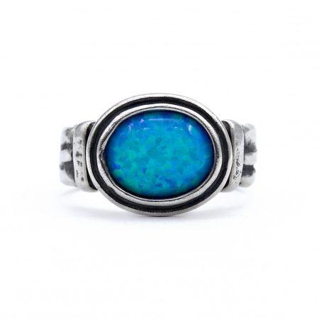 """Izraeli ezüst opál köves gyűrű """"fekvő ovál"""""""