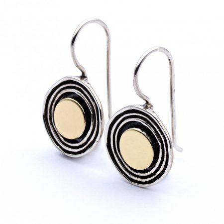 """Izraeli ezüst aranyozott fülbevaló """"kerek"""""""