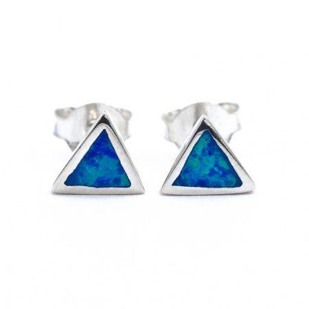"""Ezüst kék opál fülbevaló """"háromszög"""""""