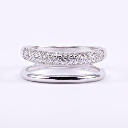 """Ezüst cirkónia köves gyűrű """"két soros"""