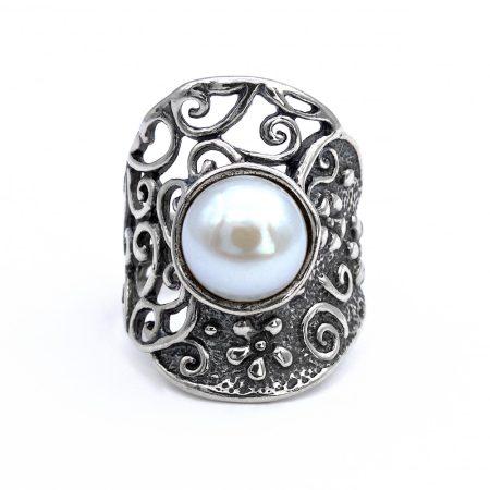"""Izraeli ezüst gyöngy gyűrű """"szélesedő"""""""