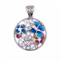 """Ezüst zománcozott cirkónia köves medál """"kék.virág"""""""