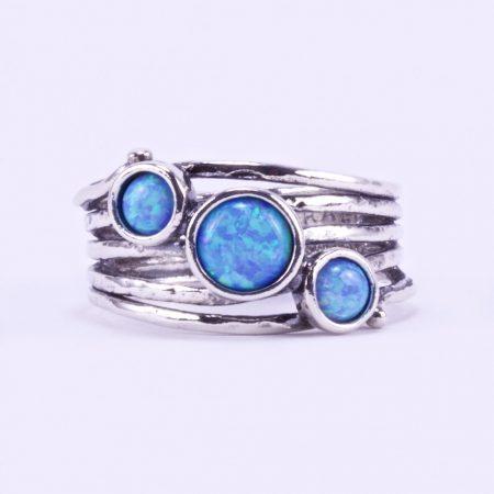 """Izraeli ezüst opál köves gyűrű """"ötsoros"""""""