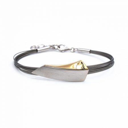Egyedi ezüst aranyozott, mattosított többsoros félmerev karkötő