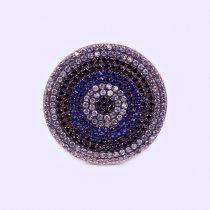 """Ezüst rosé aranyozott cirkónia köves gyűrű """"s.kék-fek"""""""