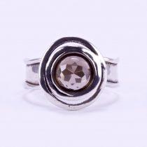 Izraeli ezüst csiszolt füstkvarc gyűrű