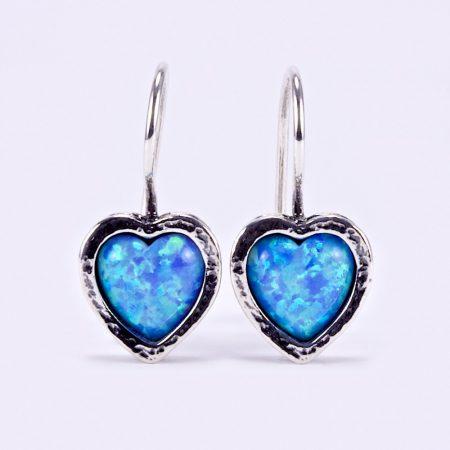 """Izraeli ezüst opál köves szív alakú fülbevaló """"hagy"""""""
