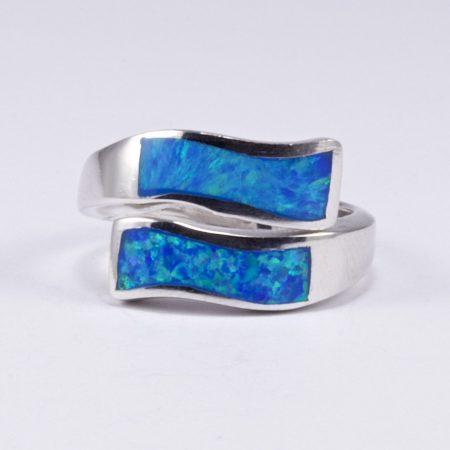 Ezüst kék opál gyűrű hullámos
